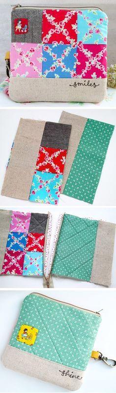 DIY Keychain Wallet: Sewing Tutorial in Pictures. Sewing Hacks, Sewing Tutorials, Sewing Crafts, Bag Tutorials, Beginners Sewing, Tape Crafts, Patchwork Bags, Quilted Bag, Diy Keychain Wallet