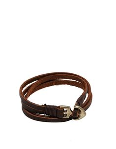ASOS Double Wrap Leather Bracelet With Anchor