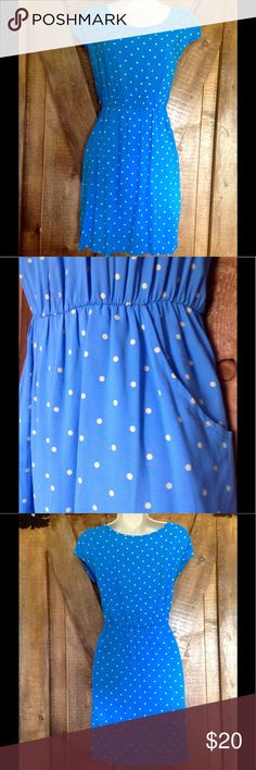 """🐠FUN SPRING POLKA DOT DRESS🐠 🐠Comfortable and flattering spring dress with elasticized waist and rounded neckline for easy on and off, handy front pockets and ultra soft machine wash and dry fabric. Measures 20"""" pit to pit and 35"""" middle shoulder to bottom hem. 🐠 Dresses"""