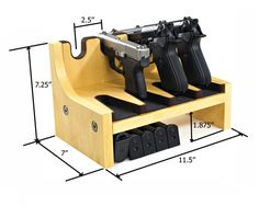 Quality Rotary Gun Racks, quality Pistol Racks - 4 Gun Pistol Rack w/Magazine Storage