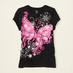 girl - graphic tees - butterfly graphic tee | Children's Clothing | Kids Clothes | The Children's Place