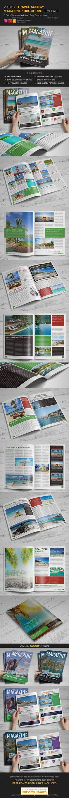 Travel Agency Magazine Brochure Template - InDesig — Vector EPS #modern magazine #travel company brochure • Available here → https://graphicriver.net/item/travel-agency-magazine-brochure-template-indesig/9227979?ref=pxcr