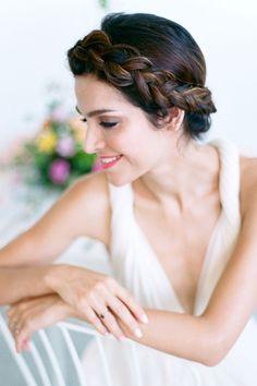 Halo braid wedding hair | We Are Origami