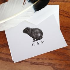 New to VeronicaFoleyDesign on Etsy: Capybara Monogrammed or Personalized Stationery - Set of 10 or more 100% Cotton Savoy (19.00 USD)