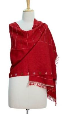 Wool shawl, 'Indore Red' NOVICA. $47.49