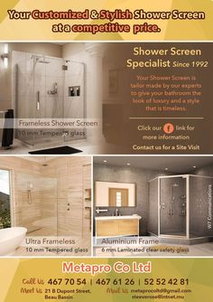 Metapro: Shower Screen Ultra Frameless with 10mm tempered glass - Made to measure. Tel: 467 7054 / 467 6126 / 52 52 42 81