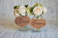 Rustic Bride and Groom Chair Signs set of 2 by RiverRoadRustics