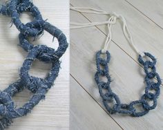 Upcycled denim necklace