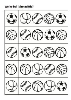 Sports matching balls activity page Preschool Writing, Kindergarten Math Worksheets, Preschool Learning, Worksheets For Kids, Toddler Activities, Preschool Activities, Teaching Kids, Visual Perception Activities, School Sports