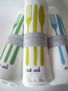 Eat Well Cloth Napkins - Custom Colors! By Nicole Porter Designs