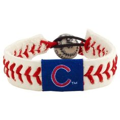 MLB Chicago Cubs Classic Baseball Bracelet by Gamewear, Inc.. $10.17. Show off your favorite team by wearing this stylish officially licensed MLB baseball bracelet from GameWear.  Each bracelet is made from genuine baseball leather and real baseball stitches and is boldly emblazoned with the team logo and colors.   Bracelets are one-size-fits-all and have a unique elastic baseball bead closure.  Available in multiple styles and players!