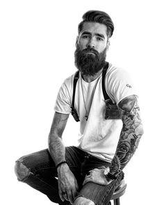 Adam Joseph Chase - full dark beard mustache beards bearded man men tattoos tattooed #beardsforever