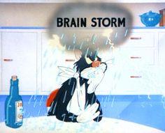 "Tex Avery Gifs - cat brainstorm - cartoon #gif.  ""King-sized Canary"""