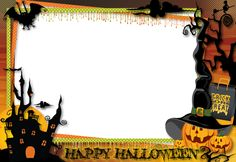 Free download - Halloween Transparent Large PNG Photo Frame. For easy poster design.