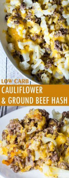 Cauliflower and Ground Beef Hash - Low Carb Recipe - Glue Sticks and Gumdrops - Low Carb Cаulіflоwеr аnd Grоund Beef Hаѕh Healthy Dinner Recipes For Weight Loss, No Carb Dinner Recipes, Low Carb Hamburger Recipes, Dessert Recipes, Ground Beef Keto Recipes, Lunch Recipes, Healthy Food, Stay Healthy, Healthy Smoothies