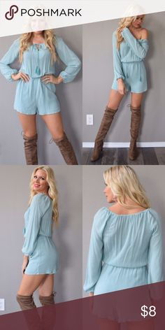 Mint light jade turquoise long sleeve romper Mint light jade turquoise long sleeve romper! So adorable. Fits like a small Other