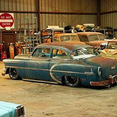 "1954 Chevrolet With 20"" Steelies (Detroit Steel Wheels)"
