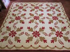 "1850's ""Coxcombs Currants"" Antique Applique Quilt 