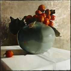 Still Life with Persimmons in Blue Vase II