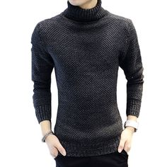 Man Knitwear Pullover Good Quality Hot Sale Promotion Winter Solid Color High Collar Knit Long Sleeve Slim Men Sweater