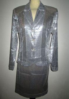 * * * Susanne Wiebe Pailletten-Kostüm silbern, Gr.42 * * *