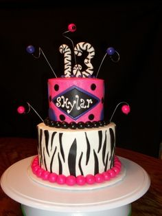 Pink & Purple Zebra Striped Tier Teen Birthday By Boshellbug on CakeCentral.com