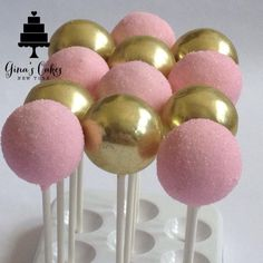 Pink and gold cake pops