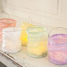 5 Pastel Paper Lantern Tea Light Holders