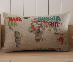 Pillow with Colorful World Map Printing by Pillow Depot Plus - contemporary - Pillows - Etsy