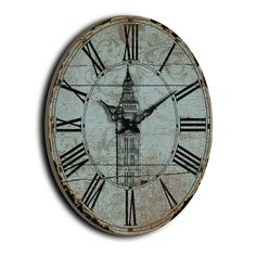 Gorgeous Mint Coloured Oval Vintage Wall Clock – Oxford