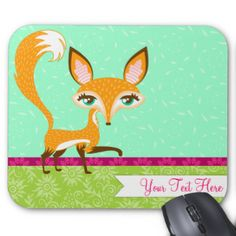 "A stylish & whimsical fox makes this a truly adorable mouse pad! Edit with your own name or message for a perfectly personalized mouse pad for your home, business or to give as a truly unique gift {{Click ""CUSTOMIZE"" to change background color, text color, font and for more editing options}} #pattern #cute #mousepad #mouse #mat #stylish #trendy #fox #gift #for #her #pink #foxes #fun #vector #illustration #girly #mousemat #mouse #pad #office #desk #business #student #tween #teen #pretty ..."