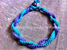 Purple and Green Twisted Hemp Anklet by PeacefulHempJewelry $10.00
