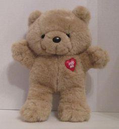"Emotions Hug Me Emergency Teddy Bear 10"" Plush Stuffed Mattel 1985 Red Heart #MattelEmotions"