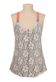 Contrast strap lace front tank (original price, $26) available at #Maurices