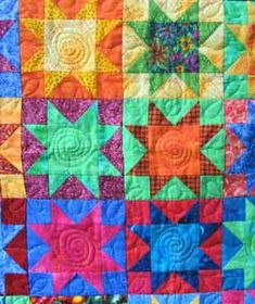 Sawtooth Stars Quilt in Bright Bold Colors