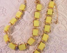 Vintage Signed CORO Chartreus Lucite Thermoset Demi Parure - Necklace & Bracelet - Edit Listing - Etsy