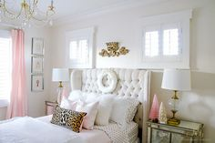 Pink, white and gold tween girls bedroom decorated for Christmas