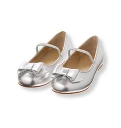 5d713b9591303 Metallic Bow Flat Little Girl Shoes, Girls Shoes, Janie And Jack, Silver  Accessories