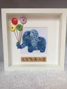 Christening Gift - Girl Birthday - Birthday - Elephant - Button Art Frame - Blue - Pink - New Born Gift Christening Birthday Birthday Elephant by Imaginewithbuttons Scrabble Crafts, Scrabble Art, Craft Gifts, Diy Gifts, Baby Crafts, Crafts For Kids, Christening Gifts For Girls, Box Frame Art, Diy Bebe