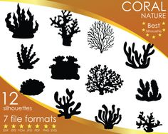 Hey, I found this really awesome Etsy listing at https://www.etsy.com/listing/516018005/12-silhouettes-coral-marine-corals-reef