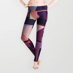 Kaku Purples Leggings by Fimbis  Purple, pattern, violet, geometric, abstract art, yoga, yoga pants, fitness,