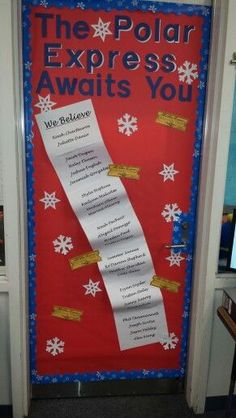 My friends and I decorated this door for our kids classroom. The Polar Express theme