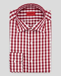 Large-Gingham Shirt, Burgundy by Isaia at Neiman Marcus.