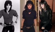Joan Jett Costume examples, with the real Joan Jett to compare.  Awesome #80s costume idea! http://www.liketotally80s.com/2011/02/joan-jett-concert-review/