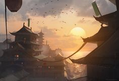 The Alliance by najtkriss Japanese Chinese Asian city building landscape location environment architecture | Create your own roleplaying game material w/ RPG Bard: www.rpgbard.com | Writing inspiration for Dungeons and Dragons DND D&D Pathfinder PFRPG Warhammer 40k Star Wars Shadowrun Call of Cthulhu Lord of the Rings LoTR + d20 fantasy science fiction scifi horror design | Not Trusty Sword art: click artwork for source