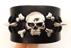 Handmade men's spike stud skull leather by ChristyKeysCreations, $20.00