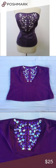 "BN Ashley Stewart embellished rhinestone bustier Perfect for a night out on the town!! Perfect condition, my cousin removed the tags but never wore. No missing or loose jewels. 97% poly, 3% spandex. Approx 42"" bust, 17.5"" length. ✅offers❌trades/PP make an offer on bundles Ashley Stewart Tops"
