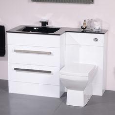 Vigo Left Hand Combination Unit by Better Bathrooms Sale: Bathroom Sink Vanity Units, White Vanity Bathroom, Small Bathroom Storage, Bathroom Design Small, Bathroom Layout, Bathroom Furniture, Bathroom Interior, Small Shower Room, Amazing Bathrooms
