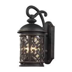 Spanish outdoor hand forged wrought iron outdoor lighting elk lighting 420623 tuscany 3 light outdoor wall sconce aloadofball Images