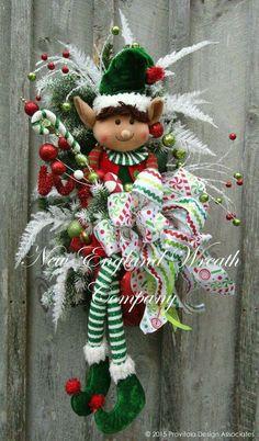 Little Elf Boy Holiday Swag ~A New England Wreath Company Designer Original~ Christmas Mesh Wreaths, Christmas Swags, Christmas Door Decorations, Christmas Holidays, Burlap Christmas, Winter Wreaths, Elf Decorations, Door Wreaths, Primitive Christmas